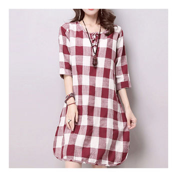 Plus Size Checks Plate Button Cotton&Flax Dress   red white   M