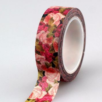 high quality 10pcs red pink rose flowers washi tape DIY Deco scrapbooking planner masking tape adhesive tape kawaii stationery