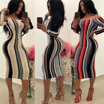 Off The Shoulder Dress Spring Winter Mesh Bodycon Dress Women Long Sleeve Party Sexy Dresses Vestido