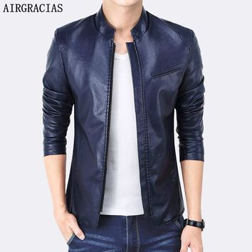 AIRGRACIAS New Design PU Leather Men's Jacket Winter&Autumn Slim Fit Solid Color Stand Collar Jackets Man Brand Clothing
