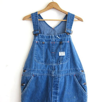 Vintage distressed Jean Bib Overalls. Big Mac Carpenter Engineer Work Pants. button fly pants