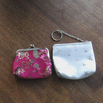 Groovy Purse Accessories: Choose Patchwork Vinyl Sewing Kit; Fuchsia Satin Asian Coin Purse, Star Graphic Coin Pouch w/ Key Fob or..