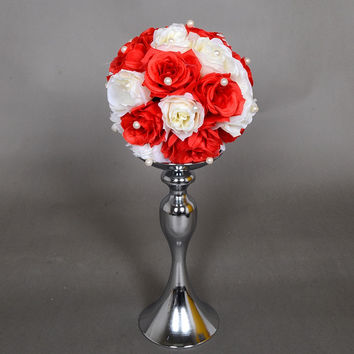 Hot Sale!!! Stands Silver Plated Candle Holder Wedding Decoration Candelabra Romantic Flower Standing Centerpiece Candlestick
