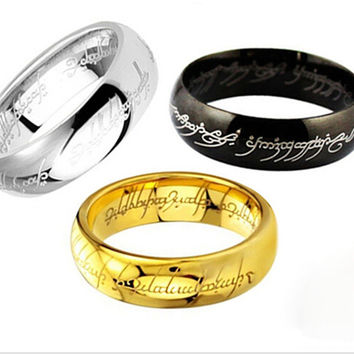 (1 pieces/lot) 100% Titanium steel Gold Ring men the hobbit  Lord of the rings For women 3 color Unisex Fashion Jewelry