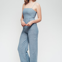 Pour Some Sugar On Me Striped Denim Look Jumpsuit