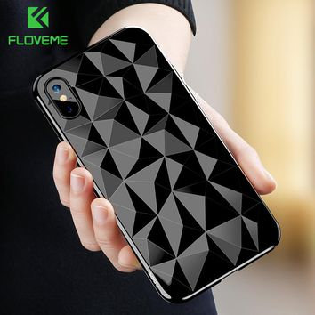 FLOVEME 3D Diamond Pattern Phone Case For iPhone X Luxury Ultra Thin Soft TPU Cases For iPhone 7 8 6 6s Plus Shining Cover Capa