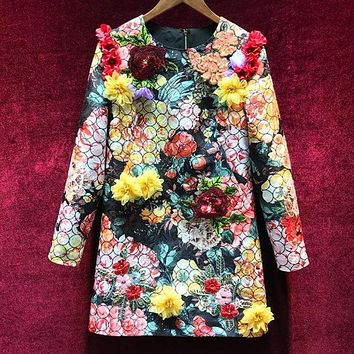 Colorful Spring Women Long Sleeve Floral Applique Print Beads Sequins Elegant Mini Dress