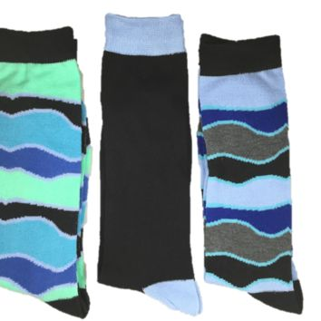 Men's Wavy and Solid Socks by Steve Madden - 3 Pairs