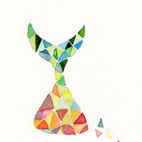 Art print , Time is Running , abstract geometric colorful, Modern,  limited edition. contemporary art, triangles,