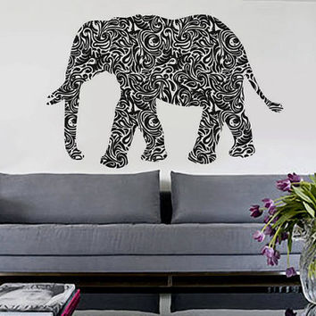 Tribal Elephant  - Wall Decal Vinyl Decor Art Sticker Removable Mural Modern Nature Animals