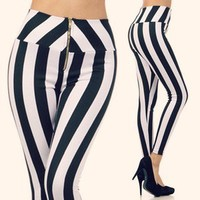 Striped High Waist Zipper Pants Black White Vertical Stripes Fashion Trend S M L