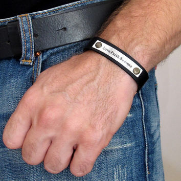 Personalized Leather Cuff / Latitude Longitude Mens Bracelet / Custom Wristband /  3rd Anniversary Mens Gift