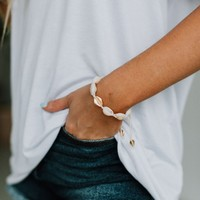 Salvador Cowrie Shell Adjustable Bracelet - Ivory