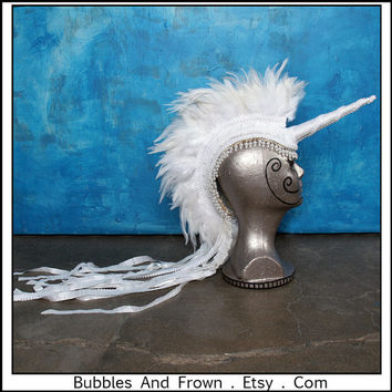 Pearly Pony.... White Unicorn Mohawk with Pearls