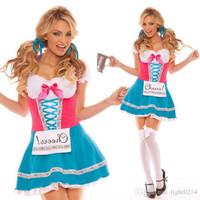 Hot Halloween Beer Uniform Maid Serving Maid Outfit Maid Role Play Clothes Princess Dress Beer Uniform Temptation Sexy Beer Girl Costume A21