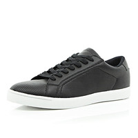 River Island MensBlack perforated lace up sneakers