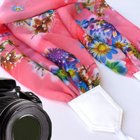 Pink scarf camera strap with colorful flowers pattern. DSLR / SLR Camera Strap. Floral camera strap for Canon, Nikon, Fuji & other cameras.