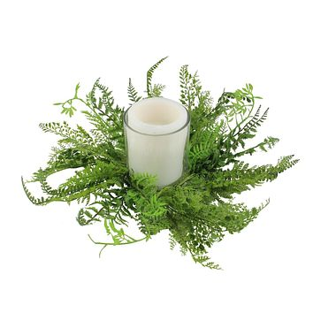 "17"" Decorative Artificial Mixed Green Fern Hurricane Glass Candle Holder"