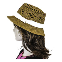 Brown Stylish Fedora Floppy straw hat