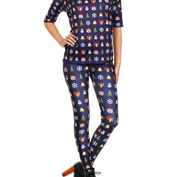 "Women's ""Christmas Emoji"" Leggings by Poprageous (Blue)"