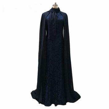 Dark Royal Blue Lace Evening Dresses With Cape Muslim Elegant Evening Gowns Formal Party Wear