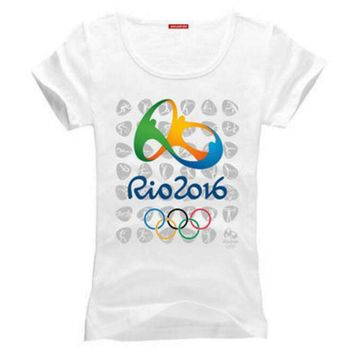 Commemorative Sports T-shirt Rio 2016 Olympic Games Round Neck Tee -XL White