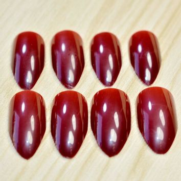 24pcs/set Stiletto Pointed Acrylic Fake Nails Dark Red Wine Medium Artificial Nail Art Tips Manicure Accessories 205P