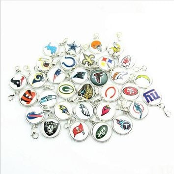 New Fashion Mix American Football Teams logo Dangle Charms With lobster clasp Pendant Fans DIY Jewelry 32pcslot