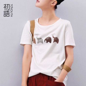 LMFUS4 Toyouth Summer Women Elephant Animal Printed Loose Short sleeve T shirt Harajuku Style Casual T-shirt Girl Casual Tops