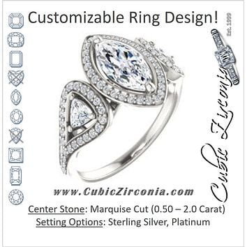 Cubic Zirconia Engagement Ring- The Cordelia (Customizable Cathedral-set Marquise Cut Design with 2 Trillion Cut Accents, Halo and Split-Pavé Band)
