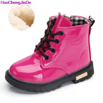 Winter PU Leather Waterproof Martin Boot for Kids