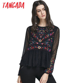 Tangada Fashion Women Elegant Seersucker Chiffon Floral Embroidery Blouse Ruffles O-Neck Long Sleeve Casual Shirt Tops BE109