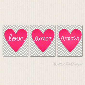 Love Print Set, Wall Art Trio, Modern Art, Grey Chevron Print, Typography Poster, Romantic Art, Pink Heart Art, Home Decor, Amor, Amour