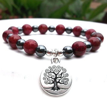 Red Bracelet with a Tree of Life Charm