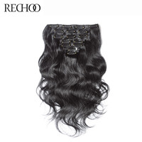 Rechoo Straight Non-Remy 100% Human Hair #1B Color Natural Black Clip In Hair Extensions 12 To 26 Inches Brazilian Body Wave