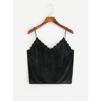Scallop Edge Velvet Crop Cami Top