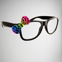 Black with Leopard Rainbow Bow Wayfarers Fashion Glasses