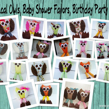 Wholesale Whimsical Owls, Birthday Party Favors, Baby Shower Favors, Baby Toys, Rattle, Soft stuffed animal, boy, girl, owl party theme