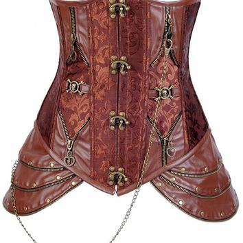 Charmian® Women's Retro Brocade Steel Boned Steampunk Faux Leather Underbust Corset