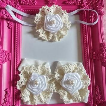 White And Ivory Lace And Pearl Headband and Barefoot Sandal Set!