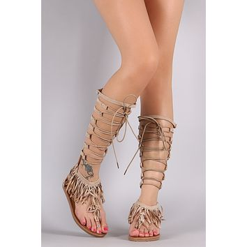 Suede Fringe Lace-Up Gladiator Flat Sandal