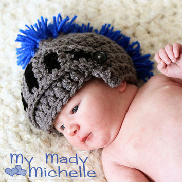 Newborn to 12 months size KNIGHT hat  Customize the colors for Baby Photos Very Warm and fun gift