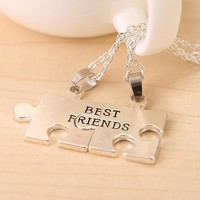 """2pcs puzzle """"Best friend"""" necklace for 2 pendant friendship gift hewelry BFF puzzle Necklaces for men and women  free shipping"""