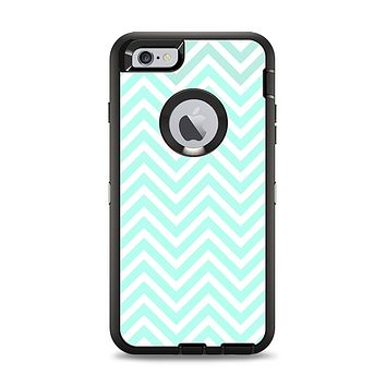 The Light Teal & White Sharp Chevron Apple iPhone 6 Plus Otterbox Defender Case Skin Set