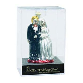 "Set of 24 Glittery 4"" Bride And Groom Glass Wedding Christmas Ornament #822203"