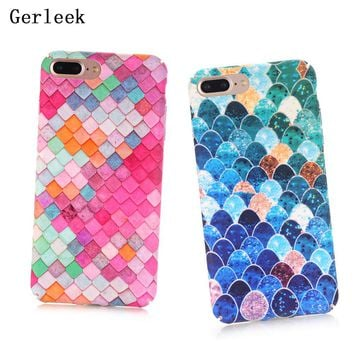 Gerleek Lovely Blue Mermaid Fish Scale Phone Cases For iphone 8 plus Case Protective Back Cover For iphone 8/8Plus Case Coq
