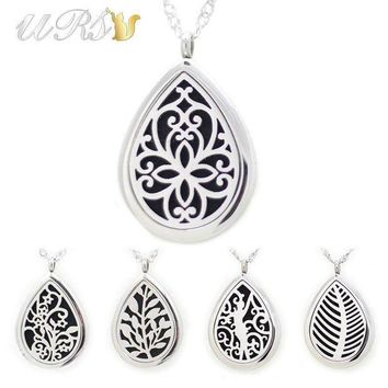 28mm Magnetic 316l Stainless Steel Teardrop Essential Oil Diffusing Necklace Perfume Locket (free Felt Pads Locket Only)