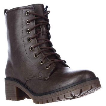 madden girl Eloisee Lace-up Combat Boots, Brown, 9.5 US