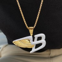 "Designer Sterling Silver Luxury Car Logo Wings 14k Gold Finish Iced Out Pendant Free 24"" Box Chain"
