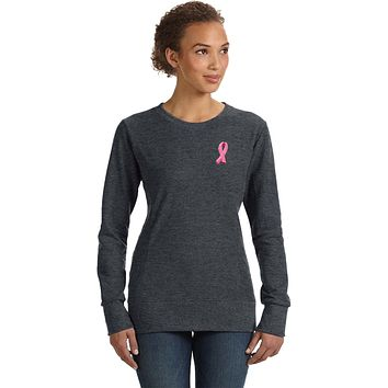 Buy Cool Shirts Ladies Breast Cancer Sweatshirt Embroidered Pink Ribbon